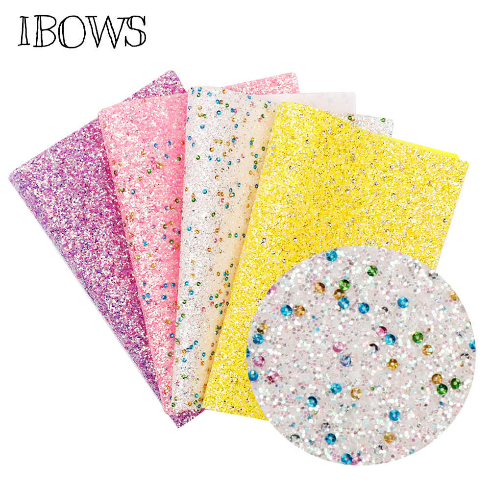 22CM*30CM Glitter Synthetic Leather Fabric Chunky Glitter Fabric Home Party Wedding Decoration DIY Handmade Hairbows Materials
