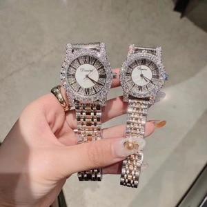 2 Sizes Classic Roman Number Women Business Watches Luxury Rhinestone Bracelet Watch Quartz Shell Face Analog Diamond Wristwatch(China)