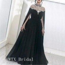 Arabic Evening Dress Long Abendkleider 2019 Black Chiffon High Neck A Line  Yousef Aljasmi Formal Evening 43f2e8178b93