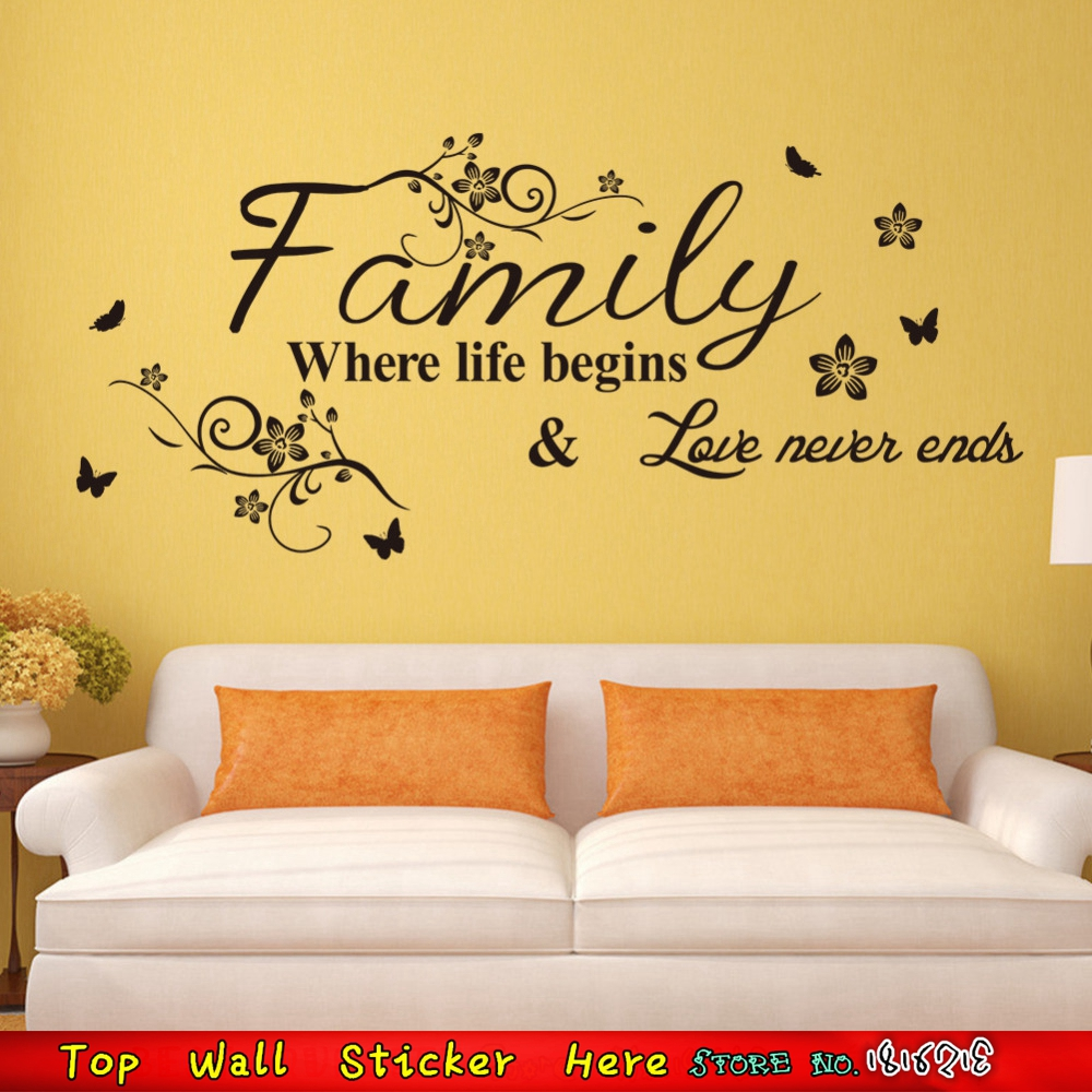 Family Life Begins Love Never Ends Wall Quotes Stickers Removable Wall  Decals For Home Living Room BUtterlfy Flower Decorations In Wall Stickers  From Home ... Part 57