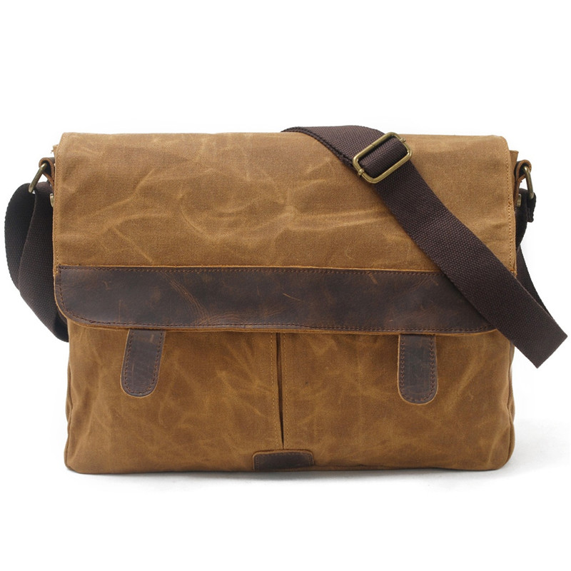 YUPINXUAN Mens Oil Wax Waterproof Canvas Leather Shoulder Bags 14