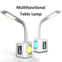 LED Dimmable Eye Protect Desk Lamp LED Foldable Reading Table Lamp Light RGB Touch Control Calendar Alarm Clock Temperature Lamp