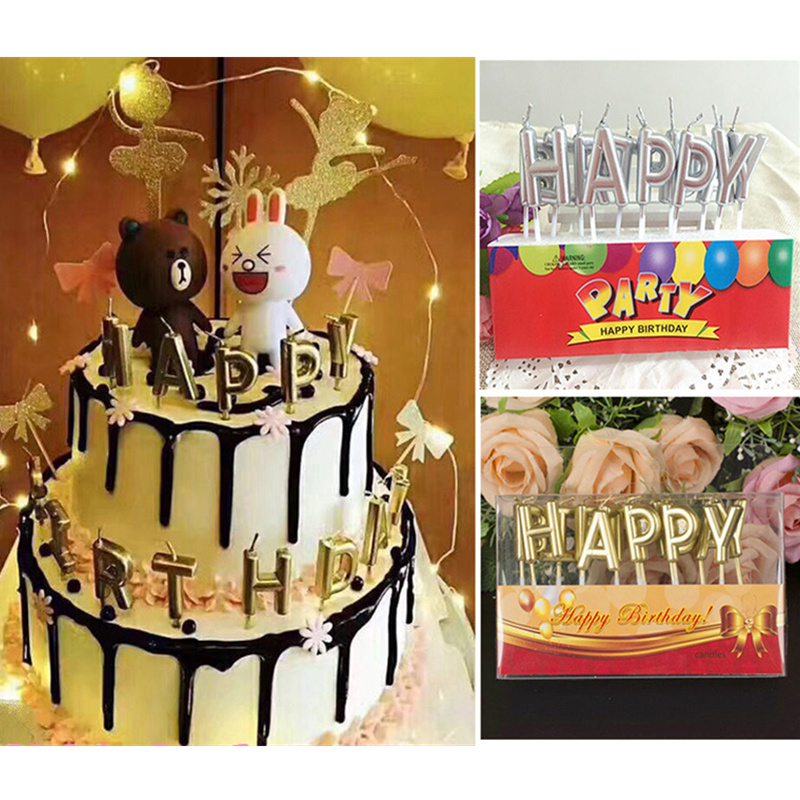13pcs Happy Birthday Candles Heart Star Love Shape Gold Silver Cake