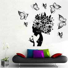 Wall Art Sticker Pretty Butterfly Women Room Decoration Abstract Hair Ornament Beauty Salon Poster Fashion Modern Decal LY396