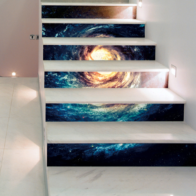 Space Nebula Peel And Stick Tile Backsplash Stair Decals