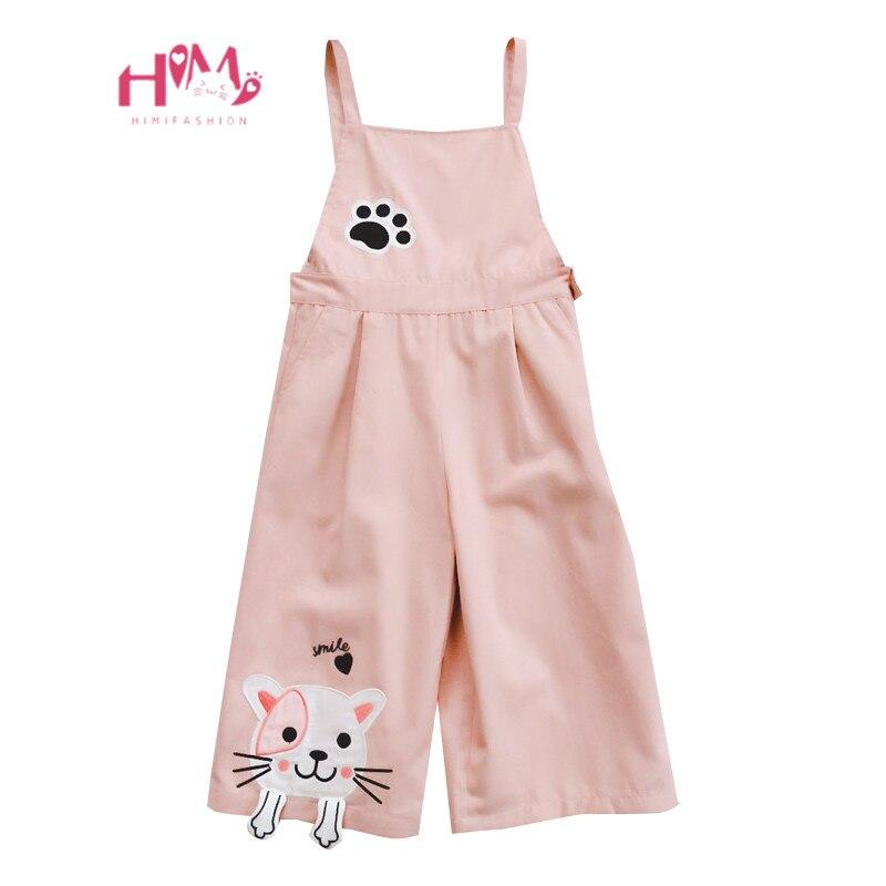 Japanese Mori Girl Cute Cat   Jumpsuits   Korean Fashion Kawaii Embroidery Pink Overalls Harajuku Casual Teen Rompers Wide Leg Pants