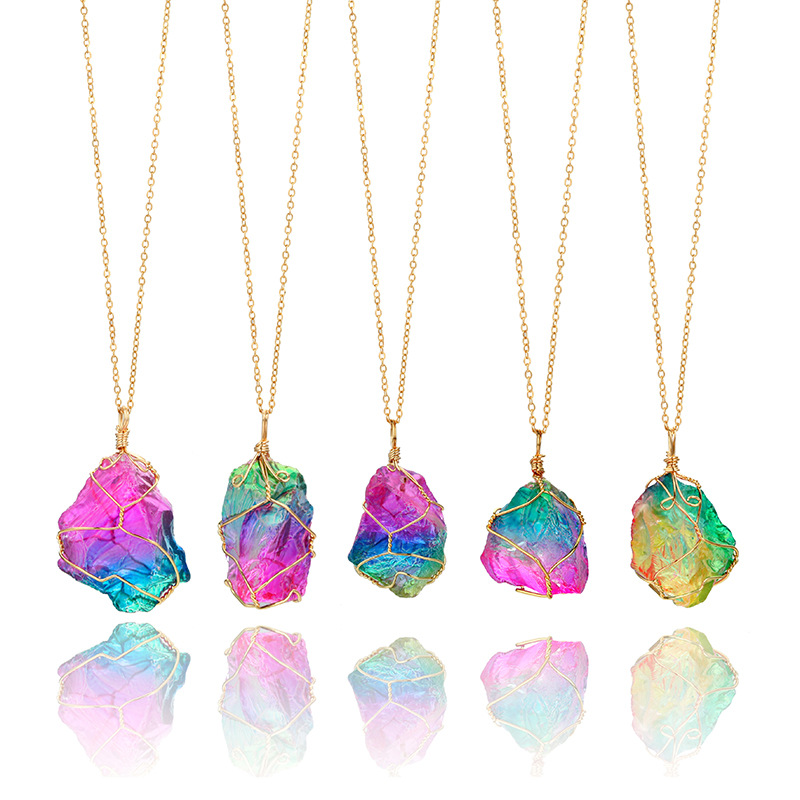 Rainbow Stone Pendant Necklace 2017 Fashion Jewelry Gold Color Chain Quartz Pendant Necklaces for Women Gifts Collier Femme