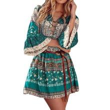 Women's Summer Dress Victorian Gothic Dress Casual Long Flare Sleeve Mini Dress Vintage Bandage V-Neck Dress Plus S-5XL FUO#68