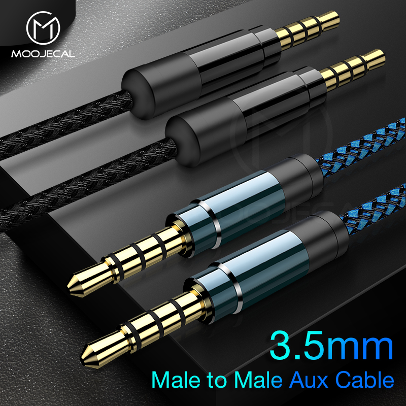 MOOJECAL AUX Cable Jack 3.5mm Audio Cable 3.5 Mm Speaker Cable For Headphone Car For Xiaomi Redmi 5 Plus Oneplus 5t AUX Cord