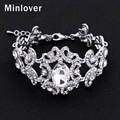 Minlover Silver&Gold Colors Crystal Bridal Chain Bracelet for Women Rhinestone Fashion Jewelry Wristband SL092