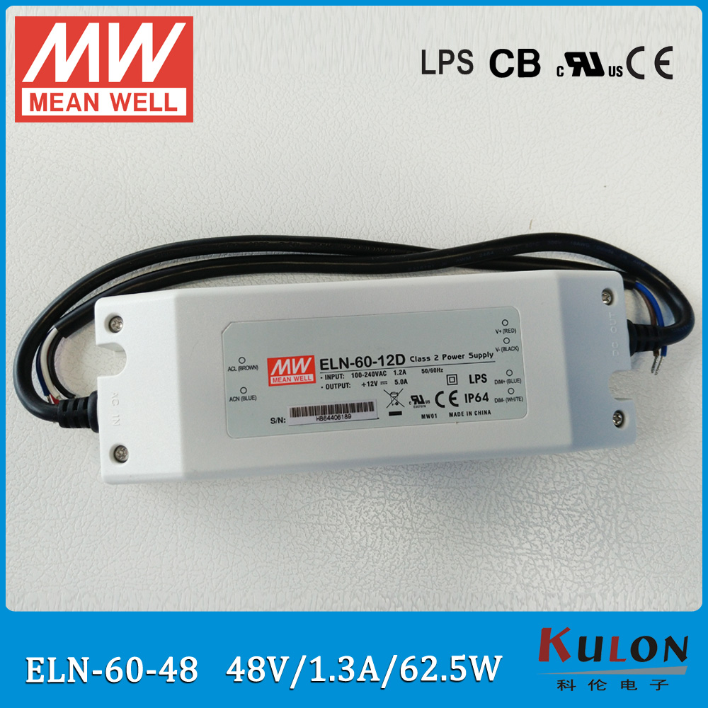 Original Meanwell ELN-60-48 62.5W 2.3A 48V LED power supply waterproof LED driver ELN-60 цена