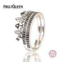 FirstQueen 925 Sterling Silver Royal Crown Ring Black Clear CZ Ring Female Wedding Jewelry Joyas De