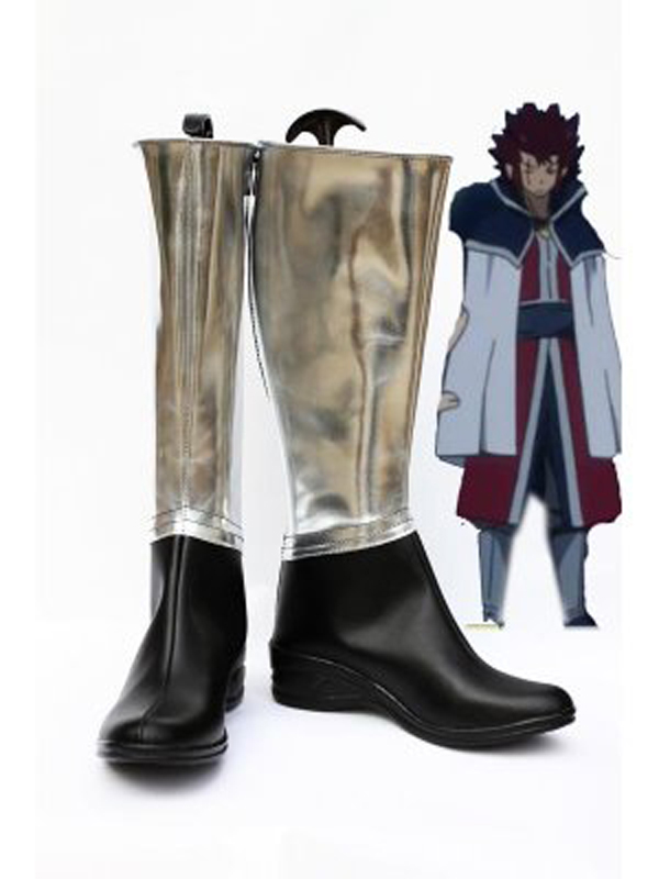 Fairy Tail Cosplay Silver and Black Cosplay Boots Shoes Anime Party Cosplay Boots Custom Made Men Shoes
