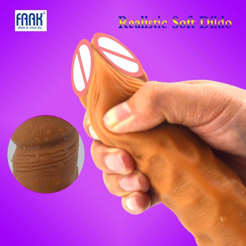FAAK Female Super Realistic Soft Dildo Artificial Penis Dilators Big Dick Adult Sex Toys for Woman