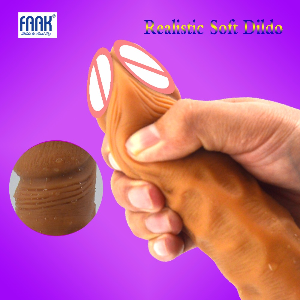 FAAK Female Super Realistic Soft Dildo Artificial Penis Dilators Big Dick Adult Sex Toys for Woman Masturbate Suction Cup Penis faak 42 realistic super big dildo flexible penis dick with strong suction cup huge dong female dick big penis adult sex toy