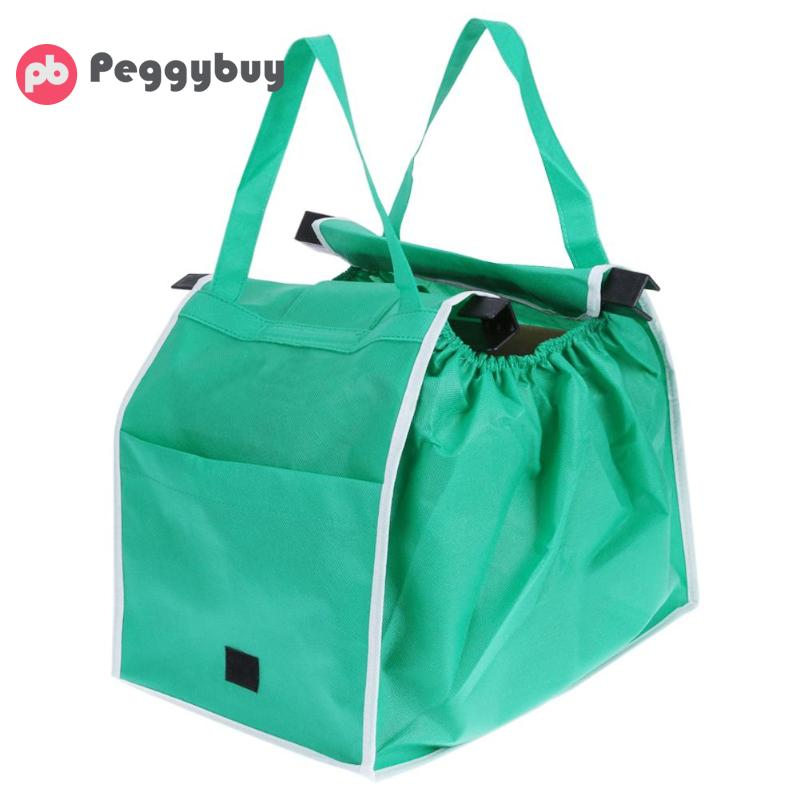 Large Trolley Clip-To-Cart Grocery Shopping Bags Supermarket Easy To Use Trolley Green Cloth Bag Portable Foldable Tote Handbags