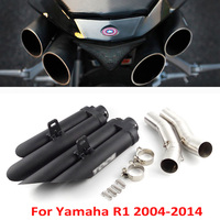 Slip on R1 Exhaust System Muffler Titanium Alloy Exhaust Escape Link Tube for Yamaha YZF R1 2004 2014 Motorcycle Exhaust System