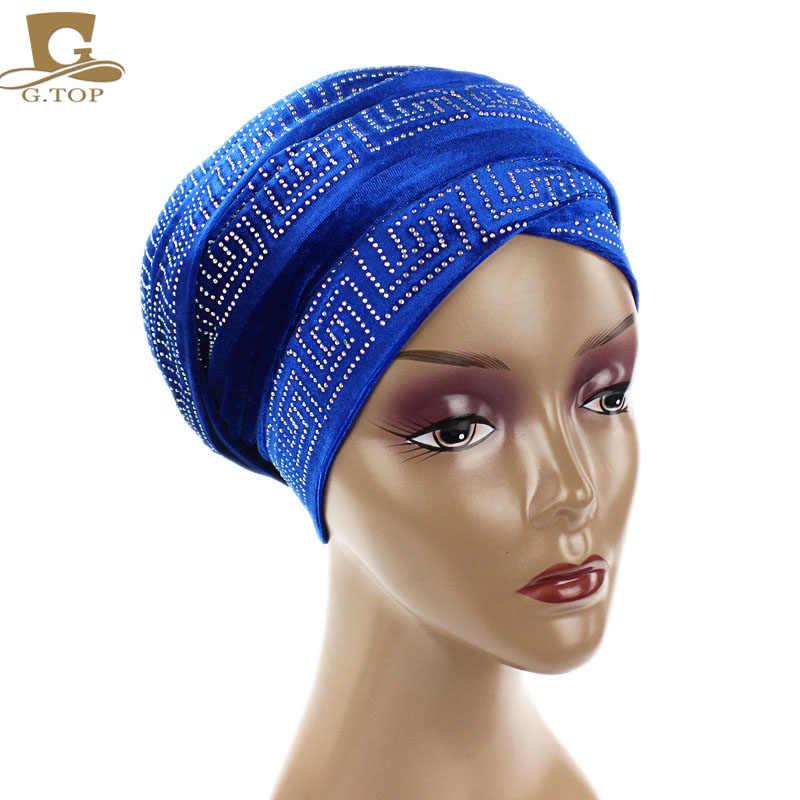 Новые женские Элегантные Бархатные нигерийские тюрбаны со стразами, удлиненные головные повязки, роскошный хиджаб головной платок, повязка на голову, женские банданы, тюрбанты