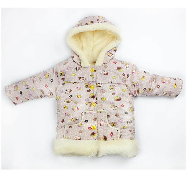 Nuevos Bebés Chaqueta de Abrigo de Invierno 2016 Niños de La Manera Hoodies Largos de la Manga Niños niñas Patrón de la historieta del Otoño prendas de Vestir Exteriores Caliente