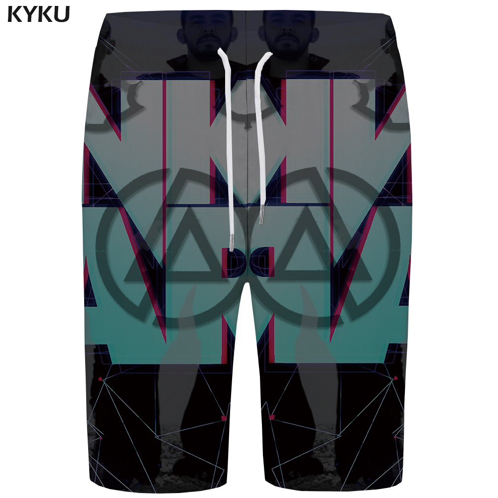 KYKU Linkin Park   Board     Shorts   Men Gothic Phantom Gray   Short   Pants Character 3d Printed   Shorts   Quick Silver Beach Mens   Shorts   New