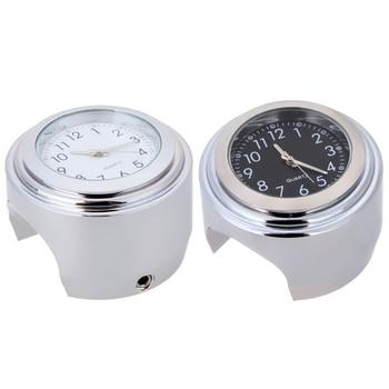 "Universal 7/8 ""impermeable cromo motocicleta manillar montaje cuarzo reloj aluminio luminoso reloj Moto negro Accesorios"