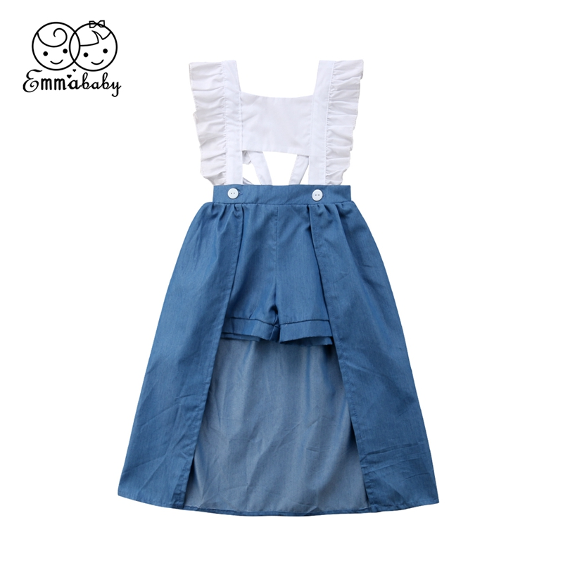 Toddle Baby Kids Girls Hollow out Backless Dress Tops Denim Shorts Trailing Sundress Clothes Outfit Dresses