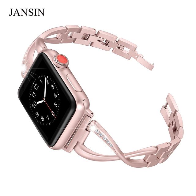 JANSIN Bands for Apple Watch 38mm 40mm 42mm 44mm Women Jewelry Stainless Steel C