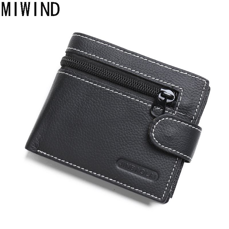 Genuine Leather Mens Wallet Man Cowhide Cover Coin Purse Small Brand Male Multifunctional Walets GB1005
