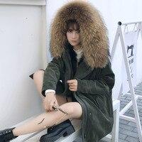 Large Raccoon Dog Fur Collar Hooded Women S Real Wool Liner Parkas Women Corduroy Coats 2018