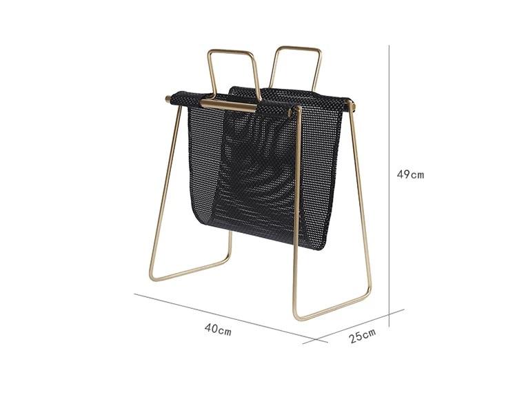 40x25x49cmWrought Plancher De Fer Noir D'or Petite Étagère Nordique mode exquis simple petite étagère magazine rack coin