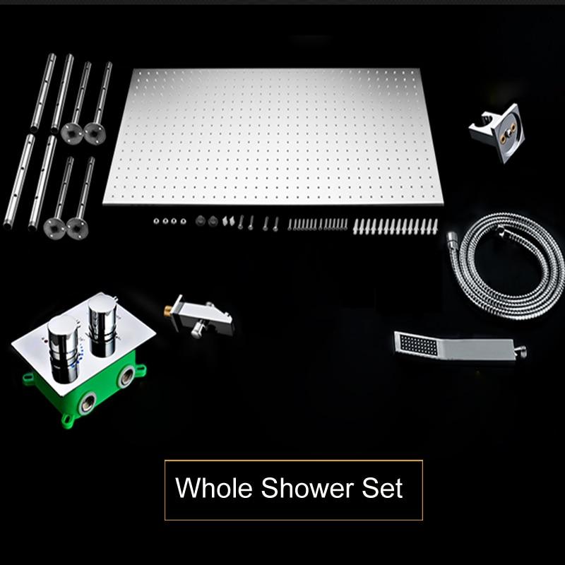 Купить с кэшбэком Luxury Shower System Ceiling Large Rain Shower Set 3 Colors Changing LED Temperature Sensor Shower Head  Thermostat Shower Set