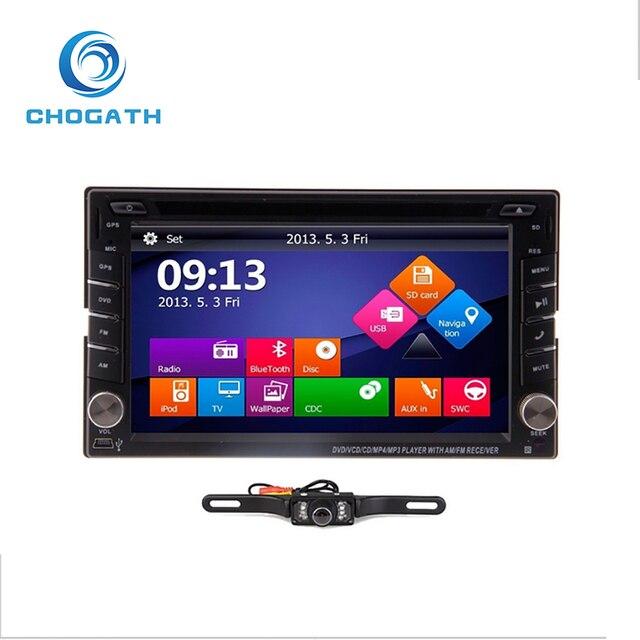 6 2 Car GPS Navigation Double 2DIN Stereo DVD Player BT Radio iPod MP3 +Camera