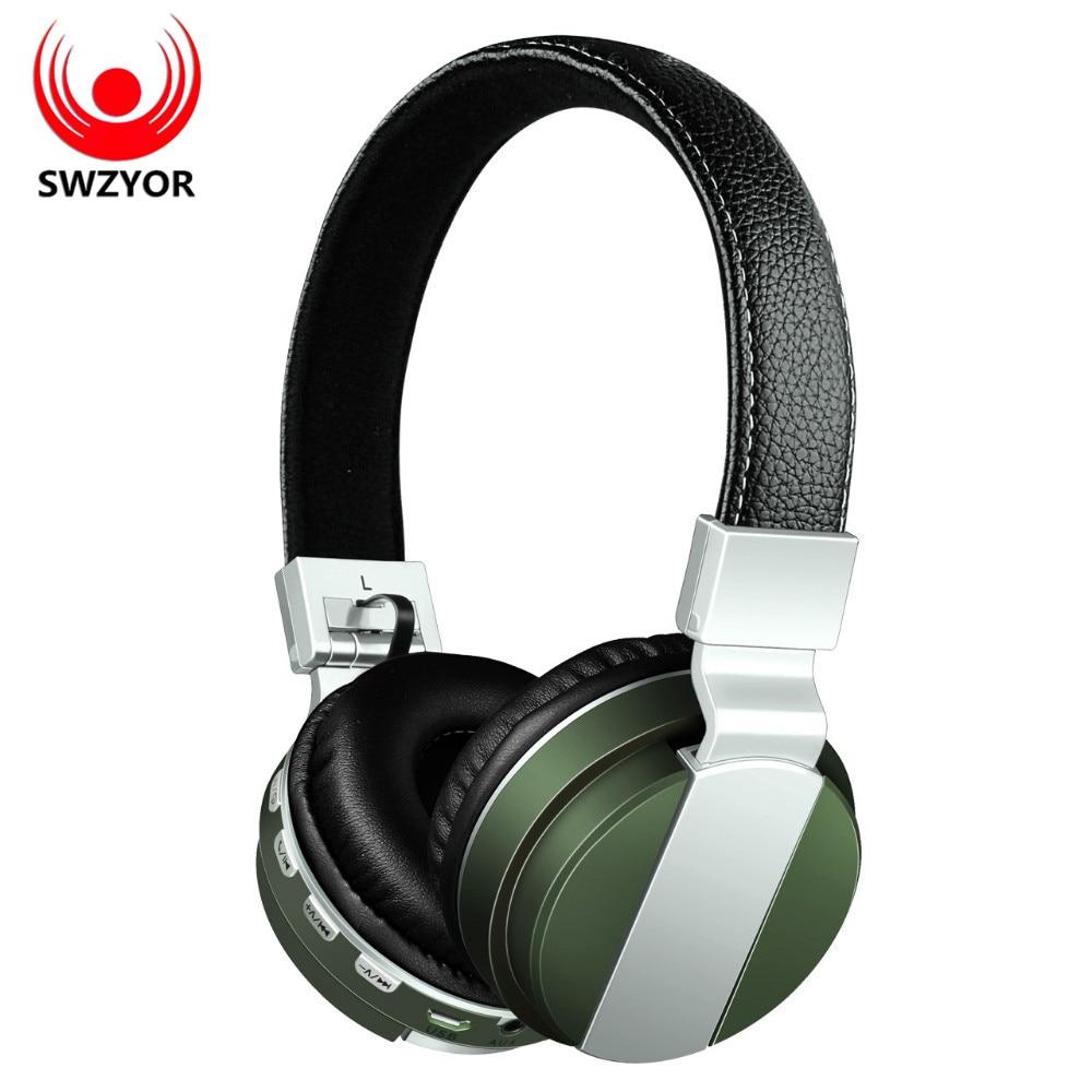 SWZYOR BT008 Wireless Bluetooth Headphone Foldable Metal Sport Headset With FM Radio /AUX/TF Card MP3 Stereo Headband Earphone