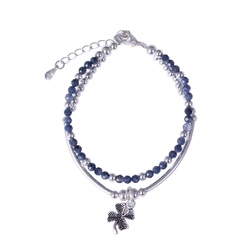 Lapis Fine Jewelry Bracelet Real 100% 925 Sterling Silver Clover Double Layer Bracelet For Women Gem Stone Elegance BraceletLapis Fine Jewelry Bracelet Real 100% 925 Sterling Silver Clover Double Layer Bracelet For Women Gem Stone Elegance Bracelet