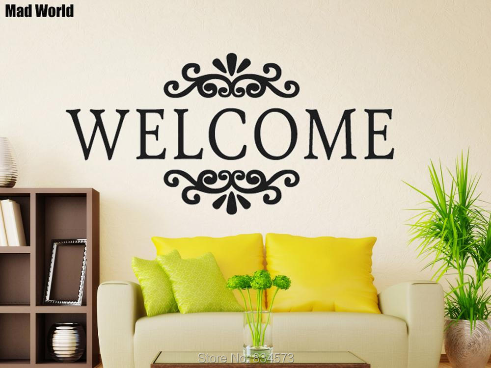 Aliexpress Buy Mad World Welcome Sign Quote Wall Art