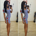 2016 Summer Europe US New Tide Women black white stripe Casual dress Sexy Split Fashion Long Party Club female Clothes Harajuku
