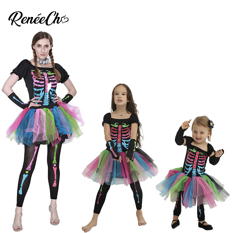 Family Costumes Halloween Mother And Daughter Carnival Costume Girl Skeleton Cosplay Tutu Dress Women Funky Punky Bones Costume