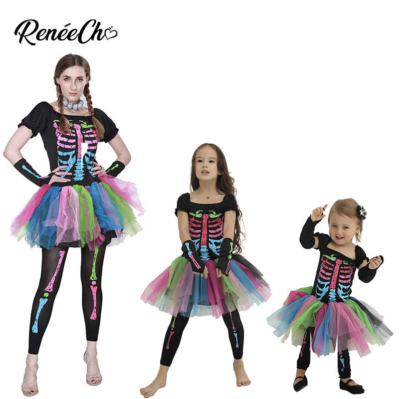354b1659b2e84 family costumes halloween mother and daughter carnival costume girl skeleton  cosplay tutu dress women Funky Punky