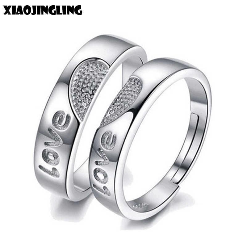 Xiaojingling Fashion Love Heart Couple Rings For Women Men Wedding