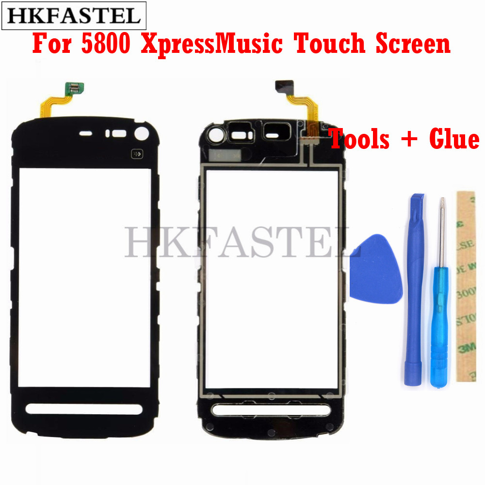 HKFASTEL High Quality Touch For Nokia 5800 XpressMusic 5800XM Touch Screen Digitizer Sensor Front Glass Lens Panel + Tools Glue