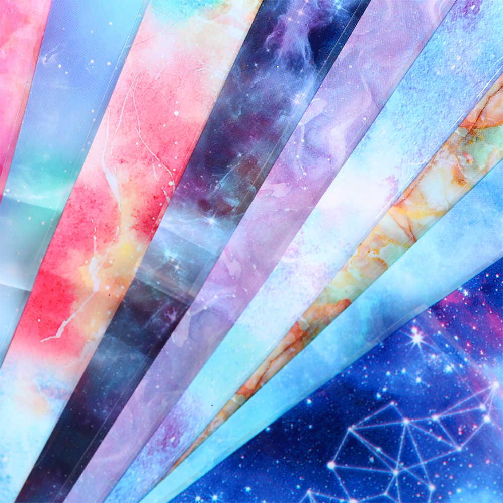 10PCS נייל לסכל מדבקת סט הולוגרפי כוכבים שמיים דבק כורכת העברת נייר שיש הניצוץ נייל אמנות מדבקות ג 'ל מחוון sticke