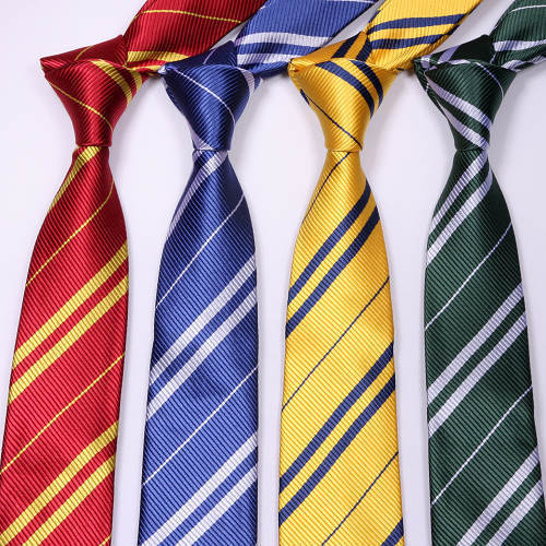 Harri Portter Gryffindor Ravenclaw Hufflepuff Slytherin Tie Cosplay Costume Tie Cravate Halloween Carnival Women Men HP Tie