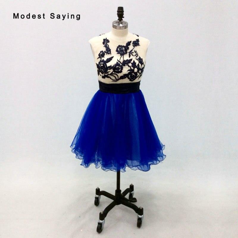 Новый 2018 Королевский синий короткий Бальные платья с Бисер Формальные бисера 8 класс Выпускной платья Вышивка вечерние Выпускные платья