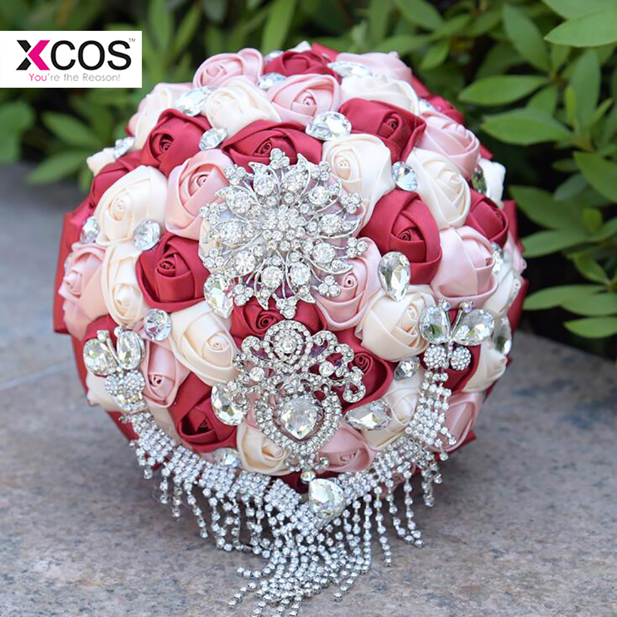 In Stock Red And White Wedding Bouquet Luxury Crystal Beading
