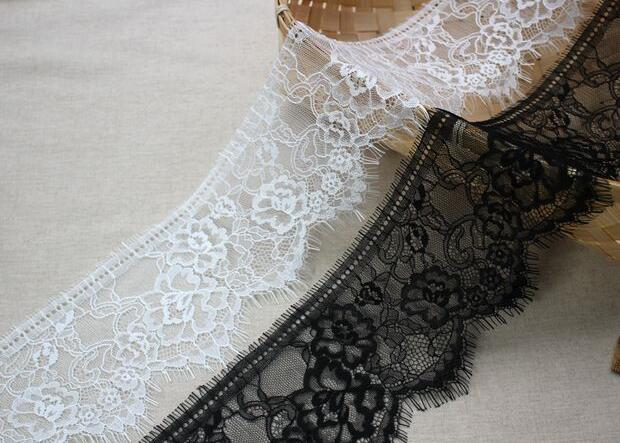 11cm wide HOT flower Cotton Embroidered White black eyelash lace fabric sewing DIY trim guipure applique Ribbon collar decor in Lace from Home Garden