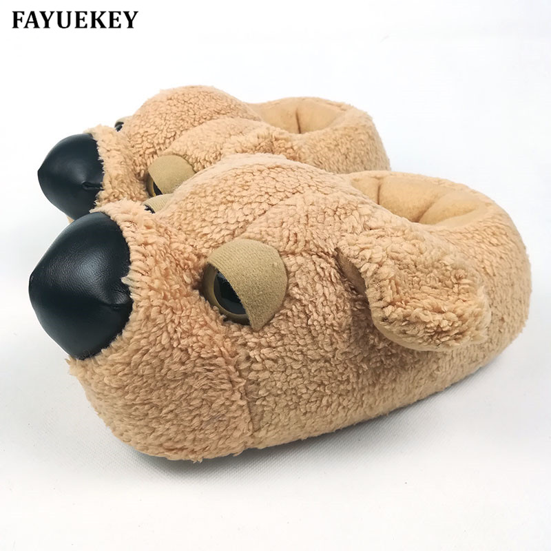 FAYUEKEY Home Cartoon Dog Warm Plush Slippers Cotton Soft Funny Animal Slippers Indoor\Floor Shoes 2017 totoro plush slippers with leaf pantoufle femme women shoes woman house animal warm big animal woman funny adult slippers page 7