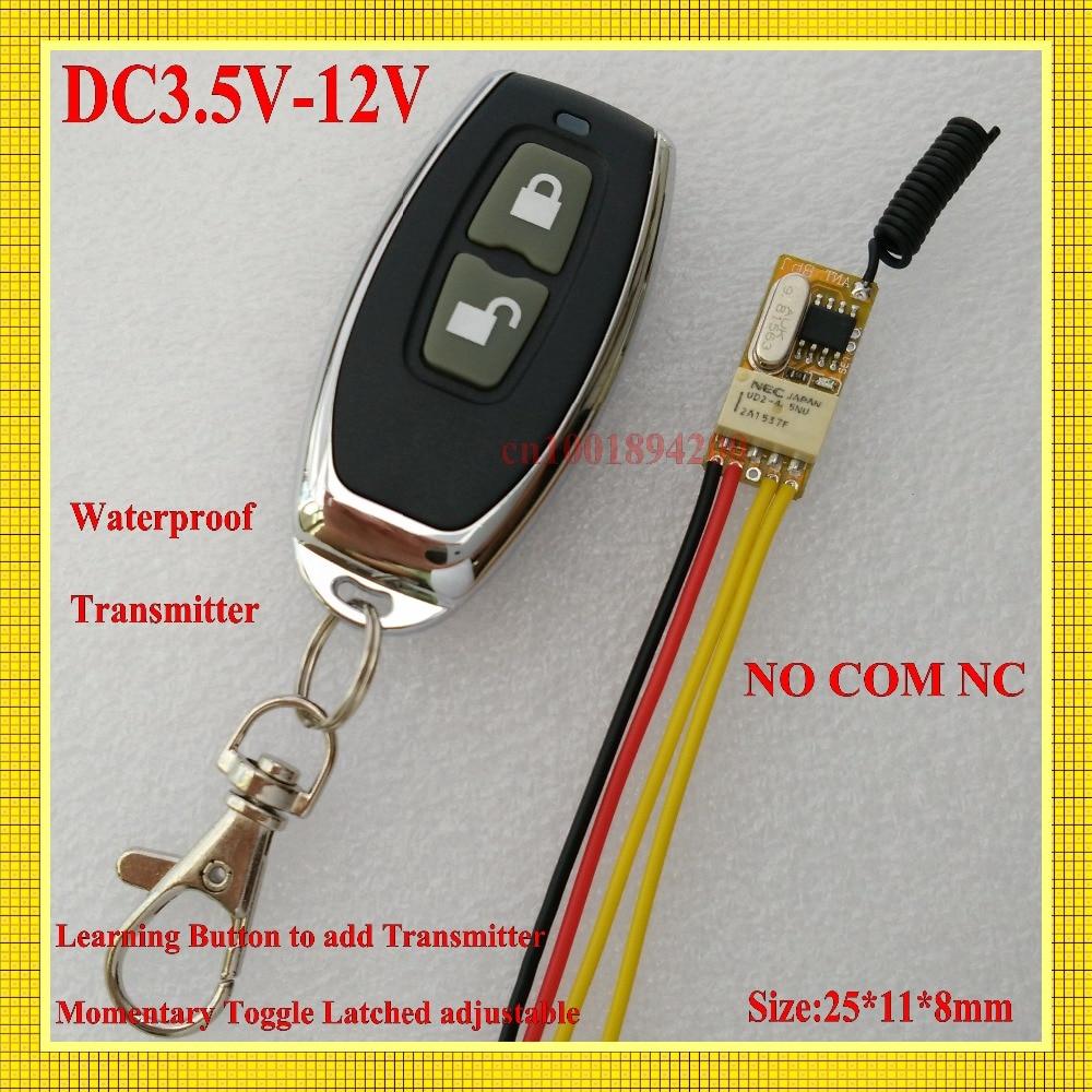 Micro Remote Control Switch DC3.7V 5V 6V 7.4V 9V 12V Relay Receiver COM NC NO RX Wide Voltage Range Learning Code M T L cltgxdd aj 131 micro switch 3 5 3 1 8 for citroen c1 c2 c3 c4 c5 c6 c8 remote key fob repair switch micro button