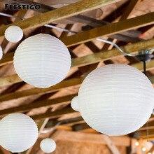 12Pcs(10-40cm) White Chinese Paper Round Lanterns Boho Bridal Wedding Hanging Dcorations Anniversary Celebration Party DIY Kits