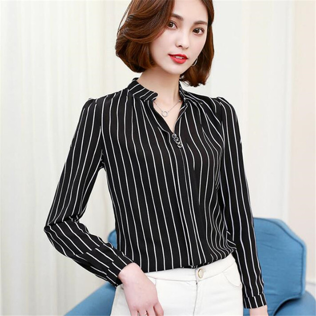 27bd30e15 Nuevo Agradable Franja de Tela Escocesa de Impresión Mujeres Blusas de Gasa  Camisas de Gran Tamaño