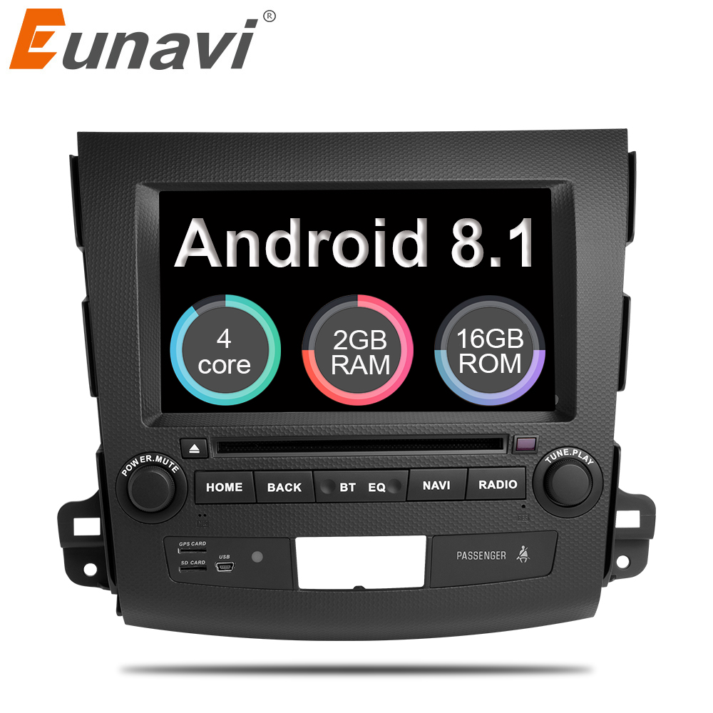 Eunavi 7'' Android 8.1 Quad core Car DVD Radio player for Mitsubishi Outlander 2006-2012 Citroen C-Crosser Peugeot 4007 GPS Navi